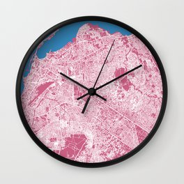 LUANDA Map Print - Angola   Pink More Colors, Review My Collections Wall Clock