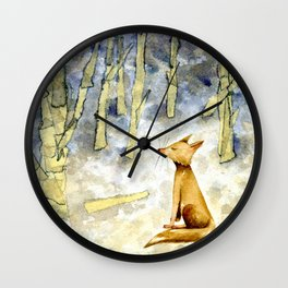 Meditating fox Wall Clock