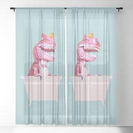 Pink T-Rex in Bathtub Sheer Curtain