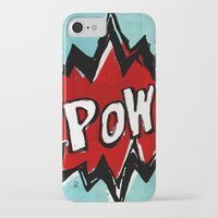comic book iPhone & iPod Cases featuring Comic Book: Pow! by Ed Pires