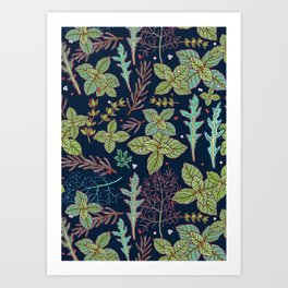 dark herbs pattern Art Print