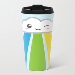 Cute Kawaii Cloud and Rainbow Metal Travel Mug