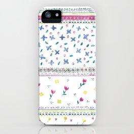 Watercolor Border Ditsy Cute Floral Allover Print Design iPhone Case