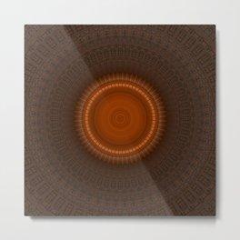 Tribal Copper Rust Mandala Design Metal Print