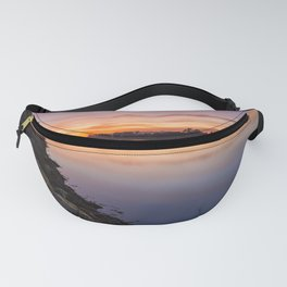 Orange sunset by the river Fanny Pack