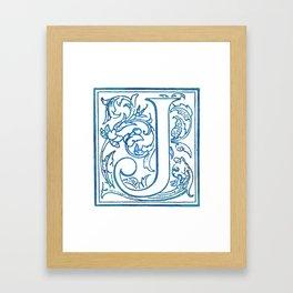 Letter J Elegant Antique Floral Letterpress Monogram Framed Art Print