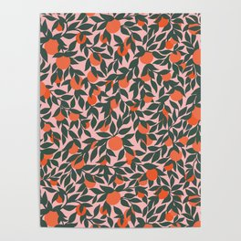 Oranges and Leaves Pattern - Pink Poster