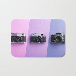 Multiple vintage cameras Bath Mat