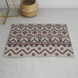 Christmas knitted pattern vector illustration of brown, blue and white background Rug