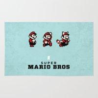 mario bros Area & Throw Rugs featuring Super Mario Bros 3 by Brandon Riesgo