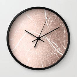Paris France Minimal Street Map - Rose Gold Glitter on White Wall Clock