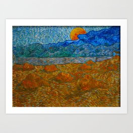 Landscape with wheat sheaves and rising moon Oil on canvas Painting by Vincent van Gogh Art Print