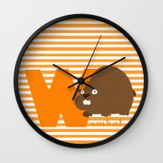 w for wombat Wall Clock