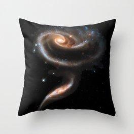 Galaxy Rose Peach Throw Pillow