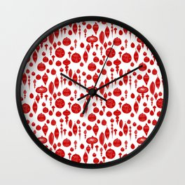 Vintage Christmas Ornaments in Red on White Wall Clock