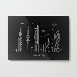 Kuwait City Minimal Nightscape / Skyline Drawing Metal Print