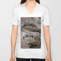 otters V-neck T-shirts featuring My Girl by Paul & Fe Photography