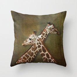 Giraffes Passing in the Night Throw Pillow