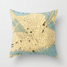 Vintage Map of Boston MA (1890) Throw Pillow
