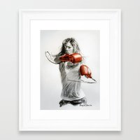 boxing Framed Art Prints featuring Boxing by Raquel García Maciá