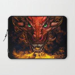 Digital dragon head, red skin and green eyes Laptop Sleeve