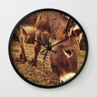 donkey Wall Clocks featuring Donkey by Vic Torys