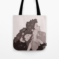 twins Tote Bags featuring twins by JohannaTheMad