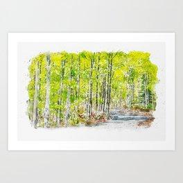 Aquarelle sketch art. Woods in Amiata Mountain in spring season, Tuscany, Italy Art Print