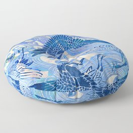 Blue Chinoiserie Watercolor Waves & Cranes  Floor Pillow