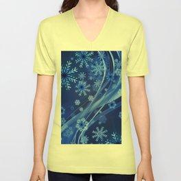 Blue Snowflakes Winter Unisex V-Neck