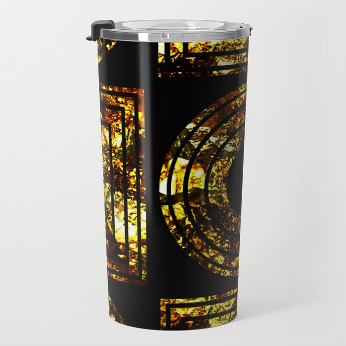 Golden Shapes - Abstract, black and gold, geometric, metallic textured artwork Travel Mug
