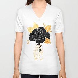 Black Rose Inktober :: Your Psyche Unisex V-Neck