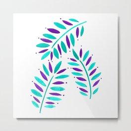 Tropical Leaves Trio Turquoise Purple on white Metal Print