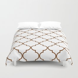 Quatrefoil - Tawny Brown Duvet Cover
