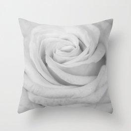 Single white rose close up Throw Pillow