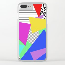 Bits And Pieces - Retro, random, abstract pattern Clear iPhone Case
