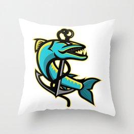 Barracuda and Anchor Mascot Throw Pillow