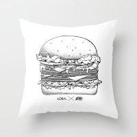 burger Throw Pillows featuring Burger by Les Très Tresses