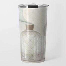 Vintage Bottles Art Illustration - Old Bottles Subtle Tones - Antique Travel Mug