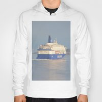 oslo Hoodies featuring Copenhagen To Oslo Ferry by Malcolm Snook