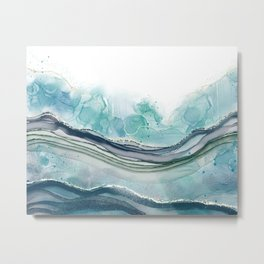 Abstract Alcohol Ink Blue Green Ocean Metal Print