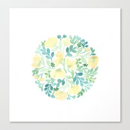 Yellow and Blue Floral Circle Canvas Print