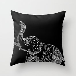 Elephant doodle in black and white. Throw Pillow