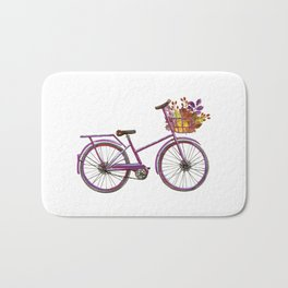 Watercolor bicycle print Bath Mat