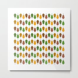 Oak Leaf Colours Pattern Metal Print