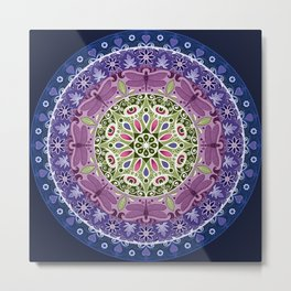 Colourful Dragonfly Mandala Metal Print