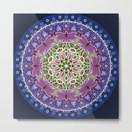 Colourful Dragonfly Mandala Metal Print