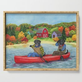 Black Labs in a canoe. New England lanscape. Outdoors art. Gift for labrador owner Serving Tray