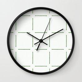 Block Print Simple Squares in Green Wall Clock