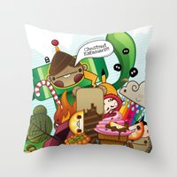 katamari Throw Pillows featuring Chestnut Katamari by Ed Warner